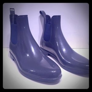 Soft Comfort Ankle Rain Boots Grey & Navy Blue
